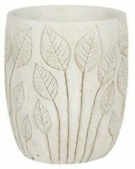 NDT International Hoge pot Nantes White 15x17 cm witte ronde bloempot voor binnen
