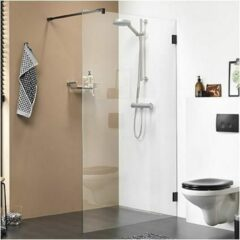 Zwarte Get Wet by Sealskin I AM Walk in type A3 (divider) 1000mm mat zwart 8mm helder veiligheidsglas met antikalk CKA31006195100