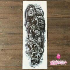 Zwarte GetGlitterBaby - Plak Tattoo Sleeve / Tijdelijke Tattoos / Nep Tatoeage - BikerGirl