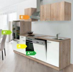 Respekta kitchen economy Respekta Küchenzeile KB280ESWCOES 280 cm Weiß-Eiche Sägerau Nachbildung