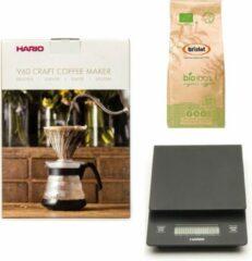 Hario V60 slow coffee kit + Hario V60 Weegschaal + Bristot BIO 100% biologische koffie