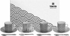 Witte Tokyo Design Studio Nippon Black Espresso Serviesset- 4 personen - 12 stuks - Porselein