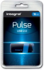 Blauwe Integral Pulse 16GB USB 2.0 Capacity Zwart, Blauw USB flash drive