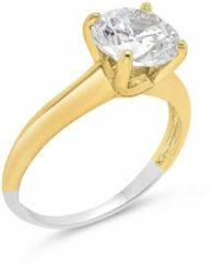 Gouden Velini jewels-R5172G-58 -Ring -925 Zilver gerodineerd-14 karat verguld- Cubic Zirkonia 6MM Center stone