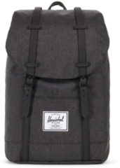 Zwarte Herschel Supply Co. Retreat Rugzak black crosshatch/black rubber Laptoprugzak