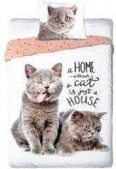 Bruine Faro Dieren dekbedovertrek - Best Friends - 2 poezen/katten- eenpersoons met 1 kussensloop - 100% katoen