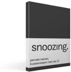 Snoozing Percale Katoen Kussenslopen (Set Van 2) - 100% Percale Katoen - 60x70 Cm - Standaardmaat - Antraciet