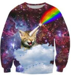 Superfout Kat met regenboog hoorn kattentrui Maat XL