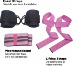 Roze GymAxess - Resistance Band - Lifting Straps - Ankle Straps - Booty Band - All-in-1 Gym Set Vrouwen - Weerstandsband