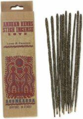Naturelkleurige Vegan wierookstokjes 'Love & Passion', Andeskruiden, Prabhuji's Gifts, 10 sticks