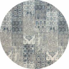 Donkerblauwe Gínore Vintage rond vloerkleed - Patchwork - Tapijten woonkamer - Noon blauw - 140cm ø