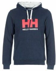 Helly Hansen Logo Hoodie 33977-597, Mannen, Marineblauw, Sporttrui casual maat: XL