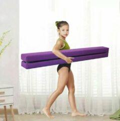 Beter Turnen Opvouwbare turnbalk paars + oefenvideo`s - Ideale compacte balk om thuis oefeningen op te turnen | Opvouwbare Evenwichtsbalk