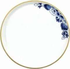 Zwarte Heinen Delfts Blauw bloesem dinerbord