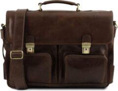 Tuscany Leather - Leren 2-vaks aktetas 'Ventimiglia' - Donkerbruin - TL141449
