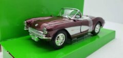 Bordeauxrode Lucky Die Cast LDC Chevrolet Corvette 1957 Bordeaux Rood 1:24