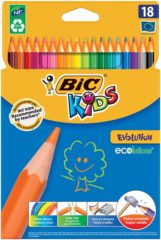 BIC Ecolutions Evolution Niet splinterende kunsthars kleurpotloden Kleurenassortiment 18 Stuks