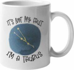 Witte MagicDAT Mok Taurus Is niet mijn schuld cadeau voor stier, horoscoop, zodiac, sterrenbeeld