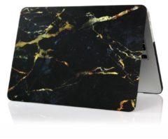 Goudkleurige Shop4 - MacBook 12 inch Retina Hoes - Hardshell Cover Marmer Zwart Goud