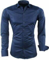 Blauwe Ferlucci - Heren Overhemd - Napoli - Slimfit - Stretch - Steel Blue