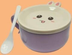 Fluffinn Stalen kom paars - roestvrijstaal - home - thuis - cadeau - noodle bowl - konijnen bord - deksel - gift