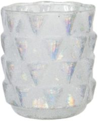 Clayre & Eef Glazen Theelichthouder 6GL2956 Ø 10*9 cm Wit Glas Rond Waxinelichthouder Windlichthouder