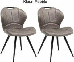 Zilveren Maxfurn Eetkamerstoel Miracle kleur: Pebble set van 2 stuks