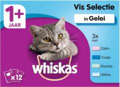 Whiskas 1+ Vis In Gelei Maaltijdzakjes - Kattenvoer - 12x100 g