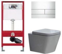 Douche Concurrent Tece Toiletset - Inbouw WC Hangtoilet wandcloset - Alexandria Tece Square Glans Wit