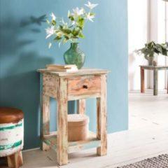 Wohnling Design Beistelltisch YAMAS 40 x 40 x 60 cm Massiv mit 1 Schublade Telefontisch Holz Shabby Vintage Holztisch Quadratisch Modern Bunt