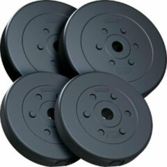Zwarte ScSPORTS® Halterschijven set 30 kg - Kunststof - 30 mm - 2x10 - 2x5 kg - Gewichten