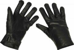 MFH Army leren handschoenen, gevoerd, zwart, MAAT XXL