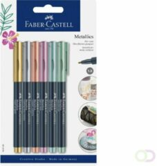 Viltstift Faber Castell metallic blister à 6 stuks assorti