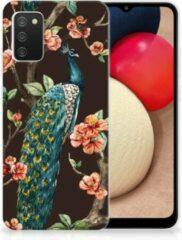 Telefoon Hoesje Samsung Galaxy A02s Siliconen Back Cover Pauw met Bloemen