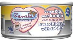 Renske Vers Vlees Maaltijd Kat Verse Kip Met Konijn Pate 24x70gr Grootverpakking