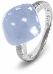 Lichtblauwe Silventi 9SIL-21147-54 Zilveren Ring - Dames - Chalcedoon - Edelsteen - Maat 54 - Gerhodineerd - Zilver