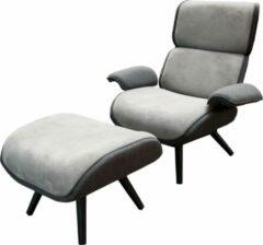 Grijze Nozem Loungestoel met Voetenbank - Fonteyn