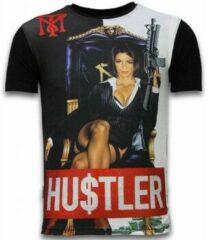 Zwarte T-shirt Korte Mouw Local Fanatic Hu$tler - Digital Rhinestone T-shirt