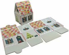 Presentdoosjes.nl Presentdoosje Kersthuisje grijs, groot: 13,2x10,6x18,5cm (10 stuks)