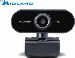Zwarte Midland W199 Webcam voor Thuiswerken -Videobellen -Webcamera - Vergaderen - Videoconferentie - USB - Videobellen - Windows – Apple