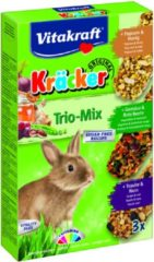 Vitakraft Trio Mix druif/noot-groente/biet-popcorn/honing-cräcker dwergkonijn 3-in-1