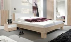 Bett 180 x 200 cm mit Nako-Set Eiche Sonoma/ weiss Helvetia Vera