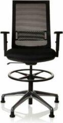 Hjh office Werkkruk/Verhoogde Bureaustoel - Met Armleuning - Polyester - Zwart - Ergonomisch