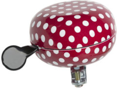 Rode New Looxs Ding Dong bell Fietsbel - 80mm - Polka Dot red