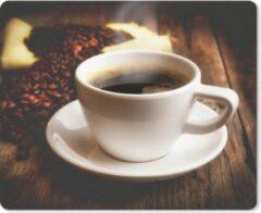 MousePadParadise Muismat Koffie - Een hete kop koffie met koffiebonen muismat rubber - 23x19 cm - Muismat met foto