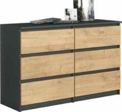 Pro-meubels - Ladekast - Commode - Stamford 6 lades - 120cm - Antraciet-Eiken