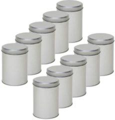 10x Zilver rond opbergblik/bewaarblik 13 cm - Zilveren koffiepads/koffiecups voorraadblikken - Voorraadbussen