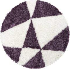 TANGO SHAGGY Himalaya Maxima Soft Shaggy Rond Hoogpolig Vloerkleed Paars / Wit- 200 CM ROND