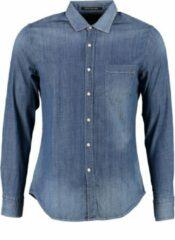 Blauwe Replay soepel denim stretch overhemd - valt kleiner - Maat S