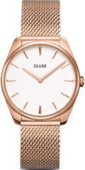 CLUSE Horloges Feroce Mesh Rose Gold Plated White Roségoudkleurig